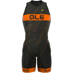 Alé Cycling Triathlon Lympc Record Combinaison de triathlon Zip arrière Homme, black-fluo orange